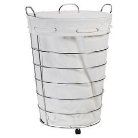 Chrome Finished Rolling Hamper With A Removable Cotton Liner