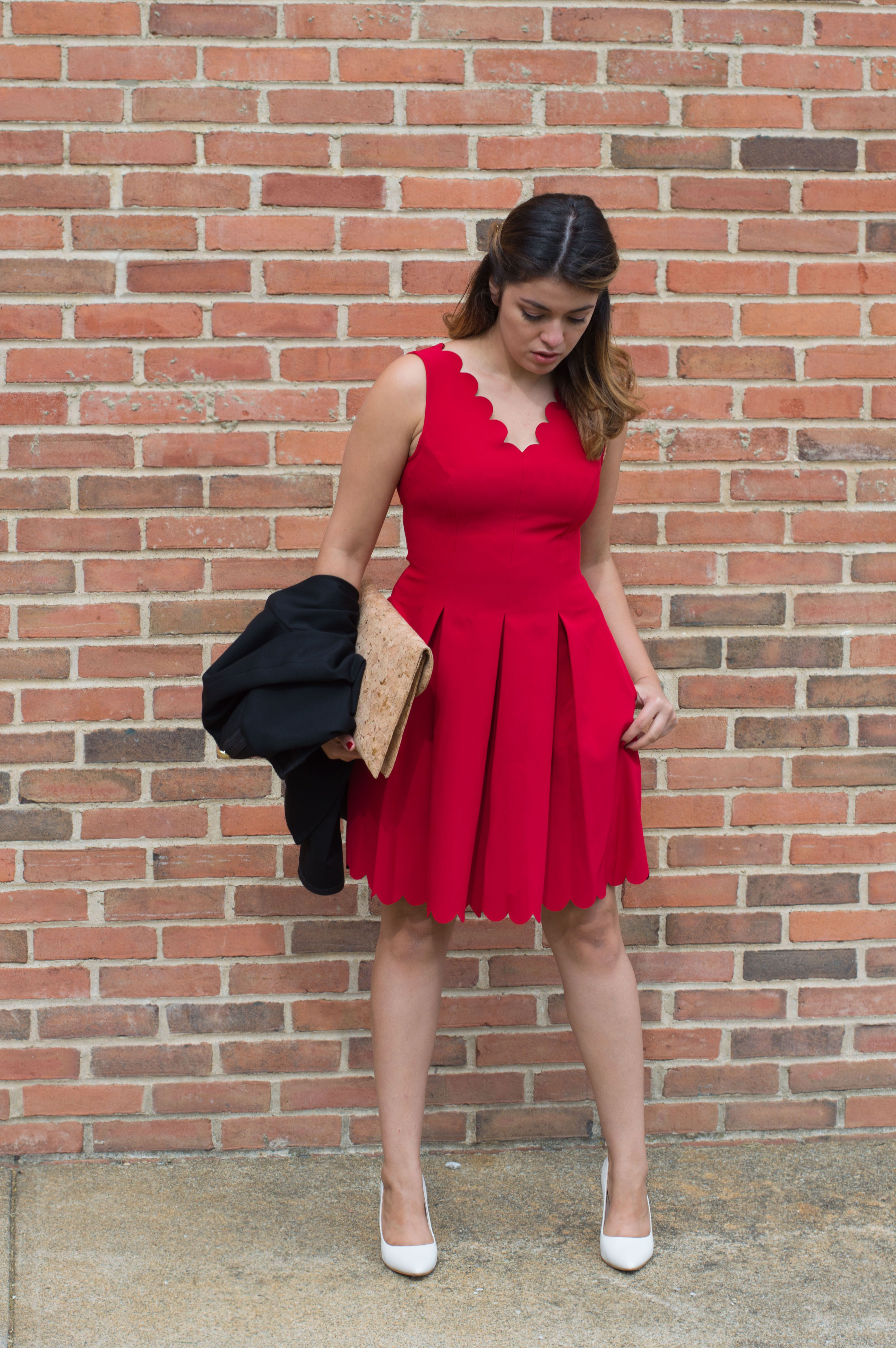 55710c7b Timeless Optimist blog | red scalloped dress + white pumps + balayage hair
