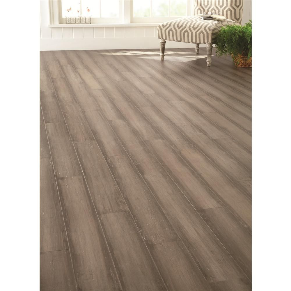 Handscraped Strand Woven Light Taupe 3/8 In. T. X 5 1/8 In. W. X 36 In. L.  Click Bamboo Flooring (19.20 Sq. Ft. /case), Light Grey