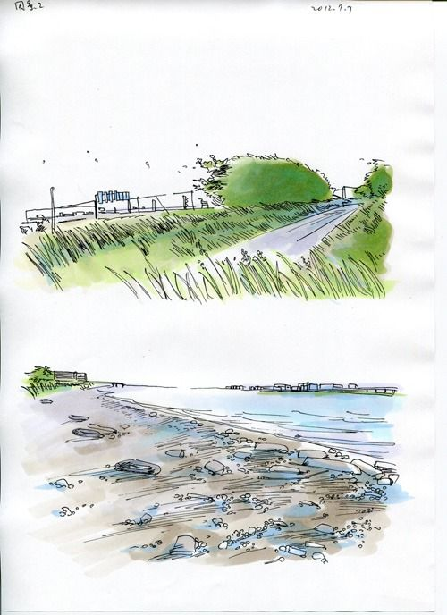 Pen and ink and wash