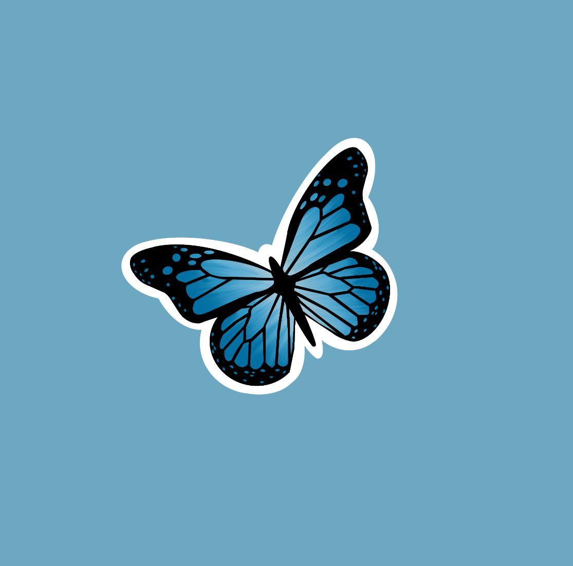 Cute Aesthetic Butterfly Stickers In 2021 Blue Butterfly Butterfly Wallpaper Butterfly Wallpaper Iphone