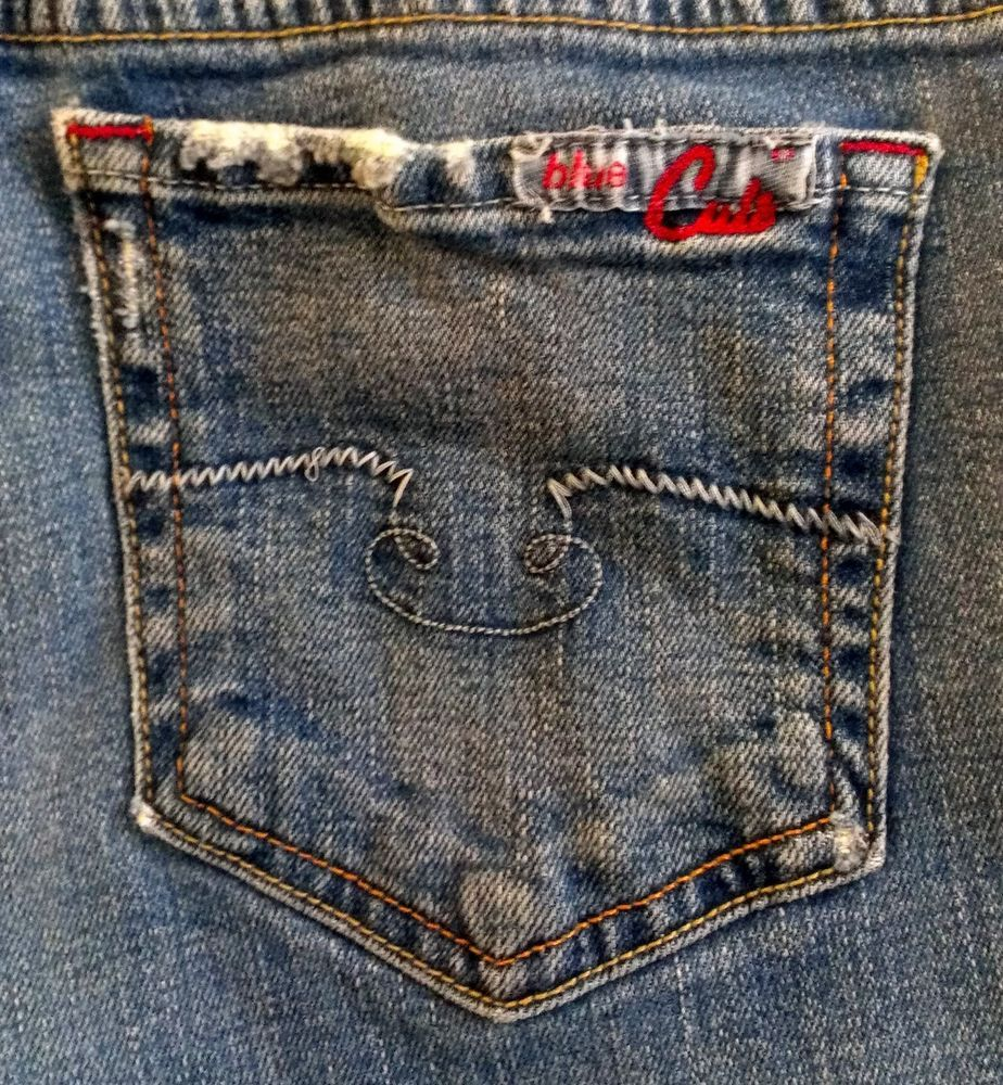 "Blue Cult Destroyed ""Kate"" Jeans Mid Rise Flare Womens Size 28 Made In The USA…"