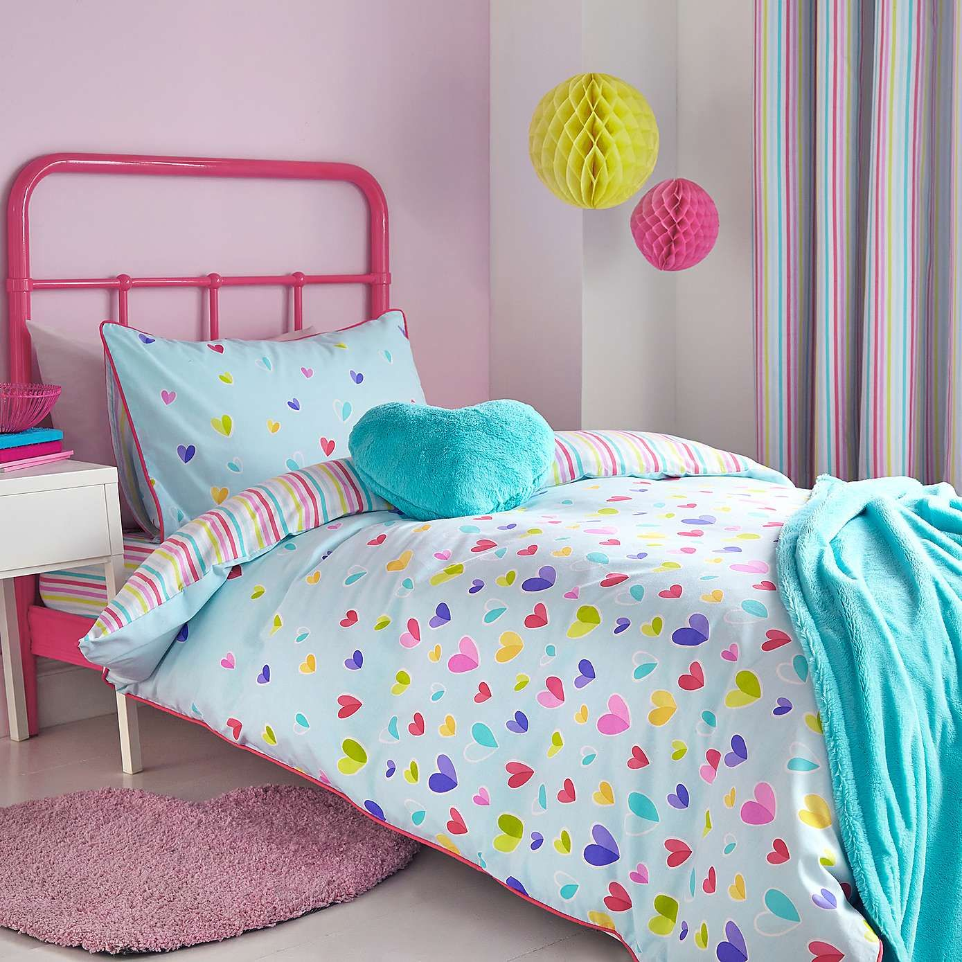 Kids Bedroom Linen kids scattered hearts 3d cushion | bed linen, duvet and linens