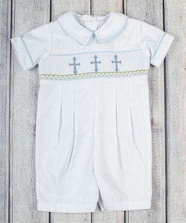 Look at this #zulilyfind! White & Light Blue Cross Piqué John Johns - Infant & Toddler by Stellybelly #zulilyfinds