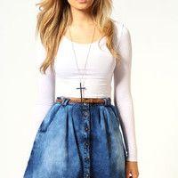 Emma Button Front Denim Skirt