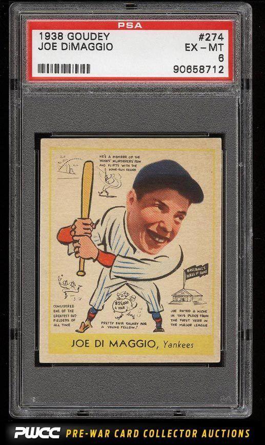 1938 Goudey Joe Dimaggio Rookie Rc 274 Psa 6 Exmt Pwcc