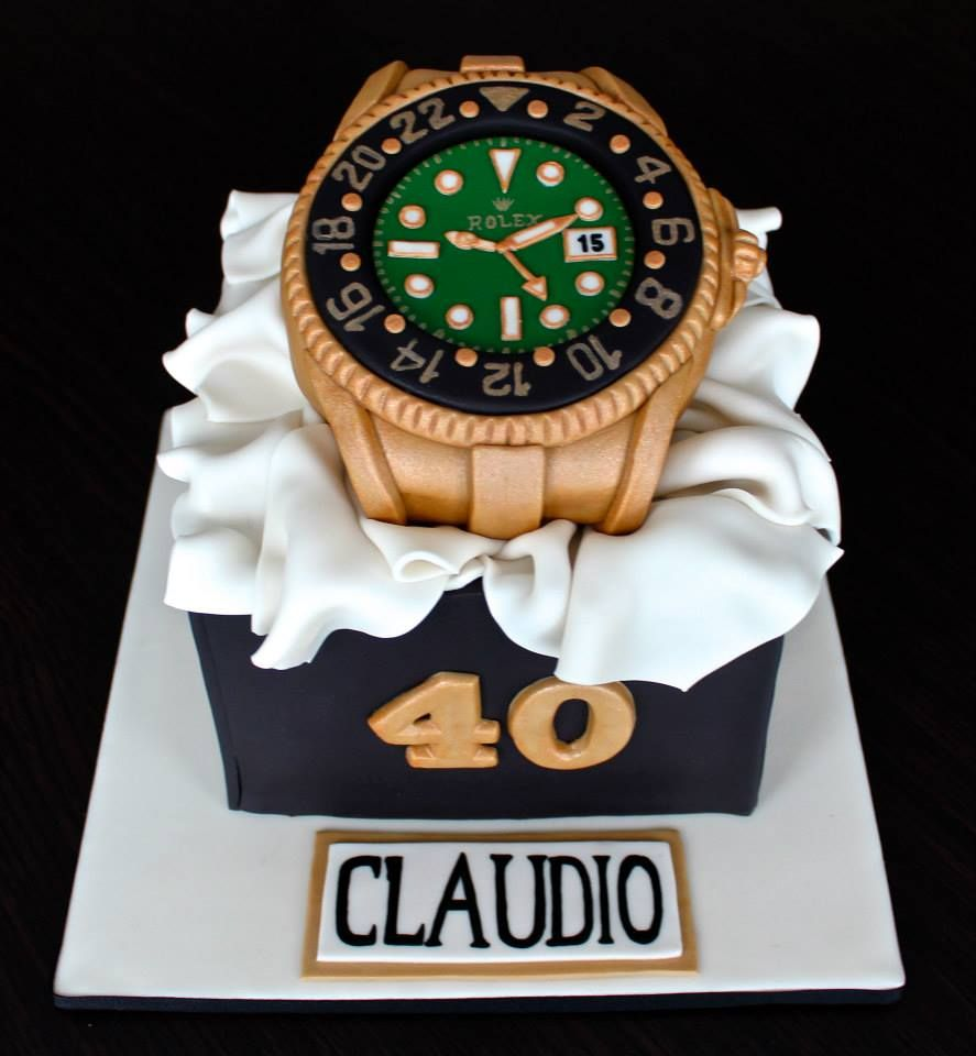 Groovy Rolex Watch Birthday Cake Mens Edible Fondant Birthday Cakes Personalised Birthday Cards Arneslily Jamesorg