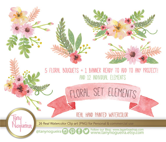 Watercolor Floral Wedding Elements Clipart PNG Vintage Flowers Frames Spring Rustic Arrangement Posies Bouquet For Invitations