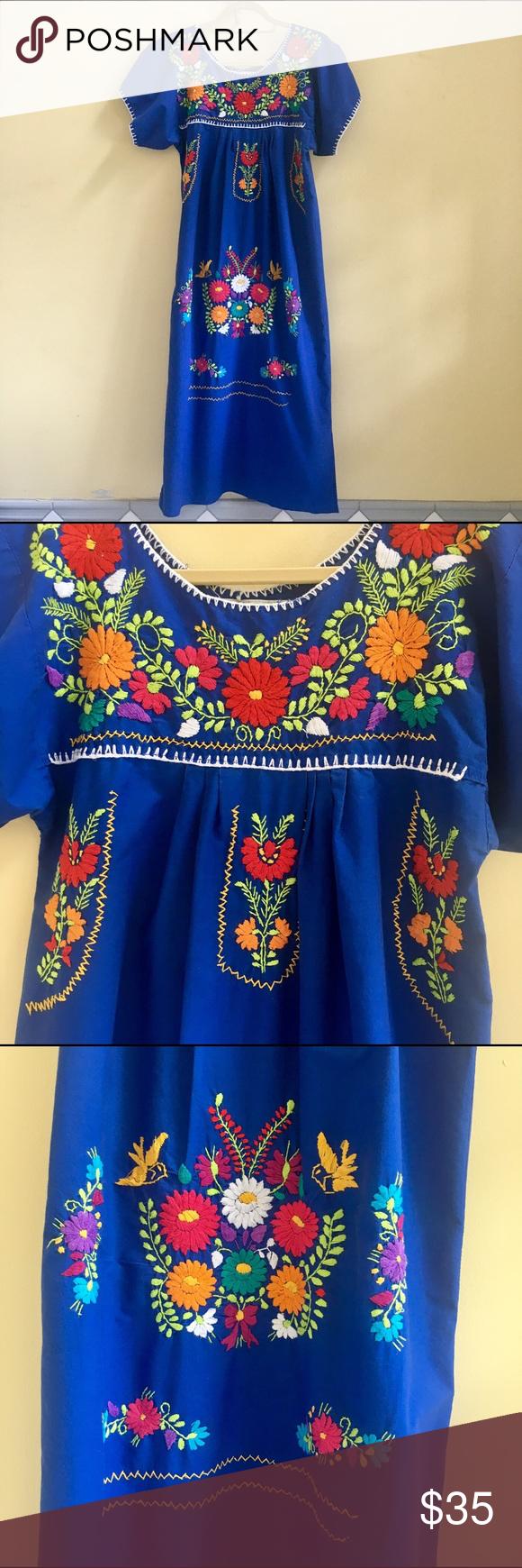 Mexican Dress Puebla Short Royal Blue