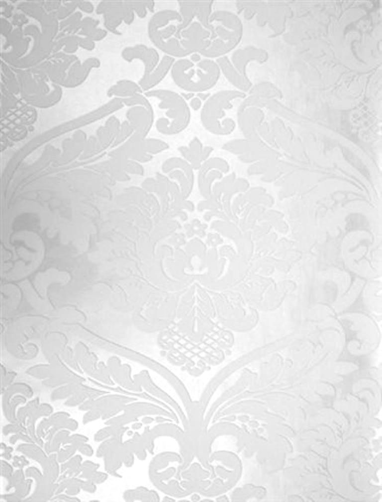Blanc White damask wallpaper Would look stunning in a