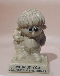 1969 BIG Eye Boy WITHOUT YOU I'M DOWN IN THE DUMPS Statue Figurine RUSS BERRIE