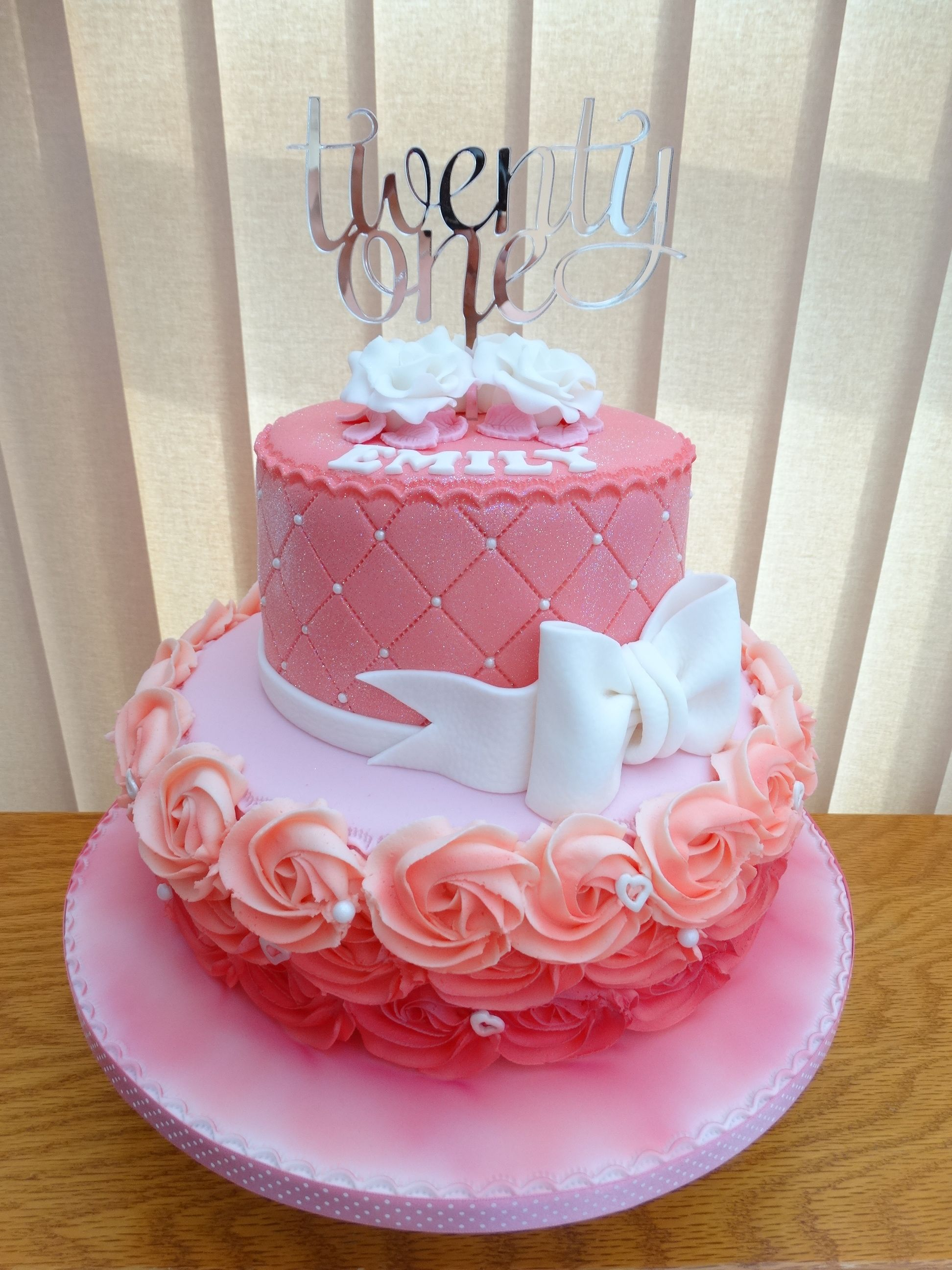 21st Pink Sparkle Cake XMCx Sparkles Birthday Cakes Anniversary