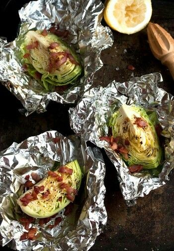 Cabbage Wedges With Bacon Bits