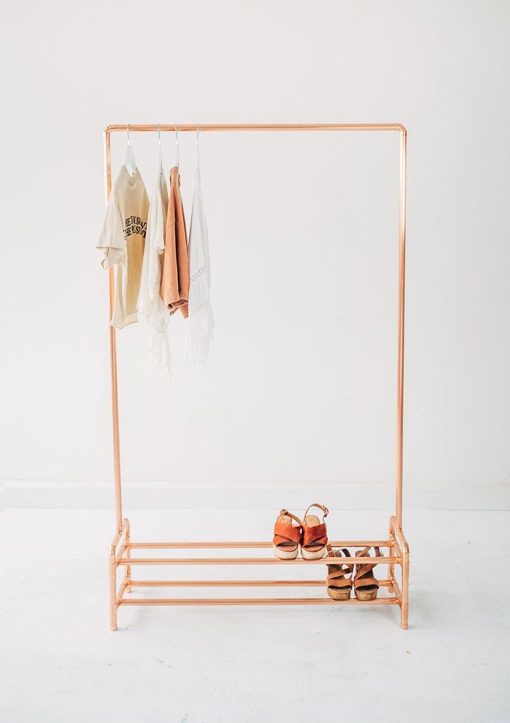 Clothes Storage with Two Tier Shoe Rack is part of Gold Clothes Rack -  This copper clothing rail with shoe rack will complement your home, shop for retail display, or studio  Made using 100% copper metal by Little Deer in Brighton, UK Baskets, boxes, shoes and other items can be placed along the bottom bars for extra storage  Perfect for an entrance hallway to hang coats and keep shoes