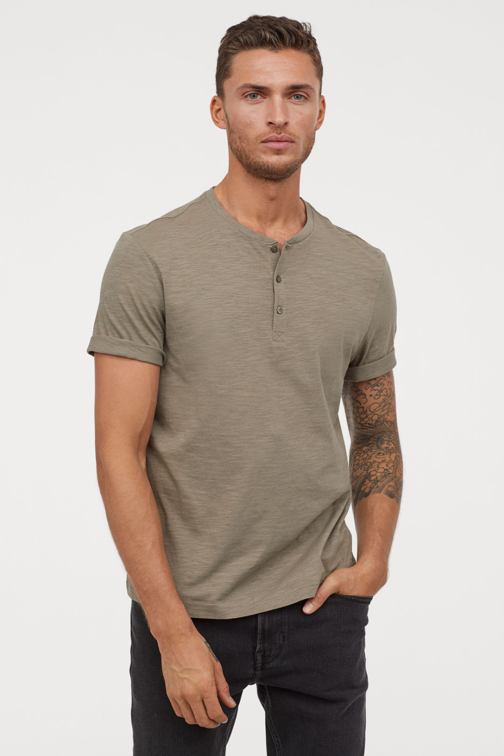 Mens Slub Henleys T-Shirt Short Sleeve Lightweight Relaxed Fit Casual with 3 Buttons Placket Round Neck Shirts