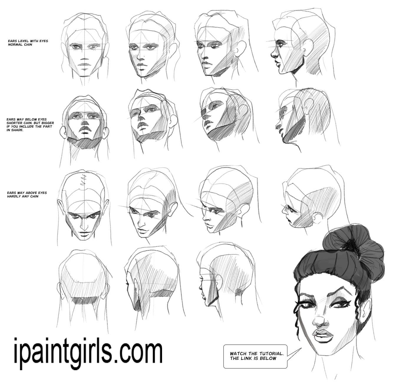 Heads Faces Angles Tutorial Female Face Drawing Face Angles Drawing Tutorial Face