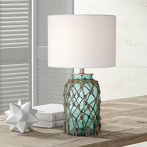 Crosby Blue Green Bottle With Rope Glass Table Lamp 1f489 Lamps Plus Glass Table Lamp Table Lamp Design Table Lamp