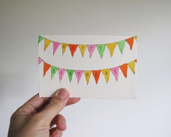 004 Hand Drawn Happy Birthday Greetings Card // Bunting Flags