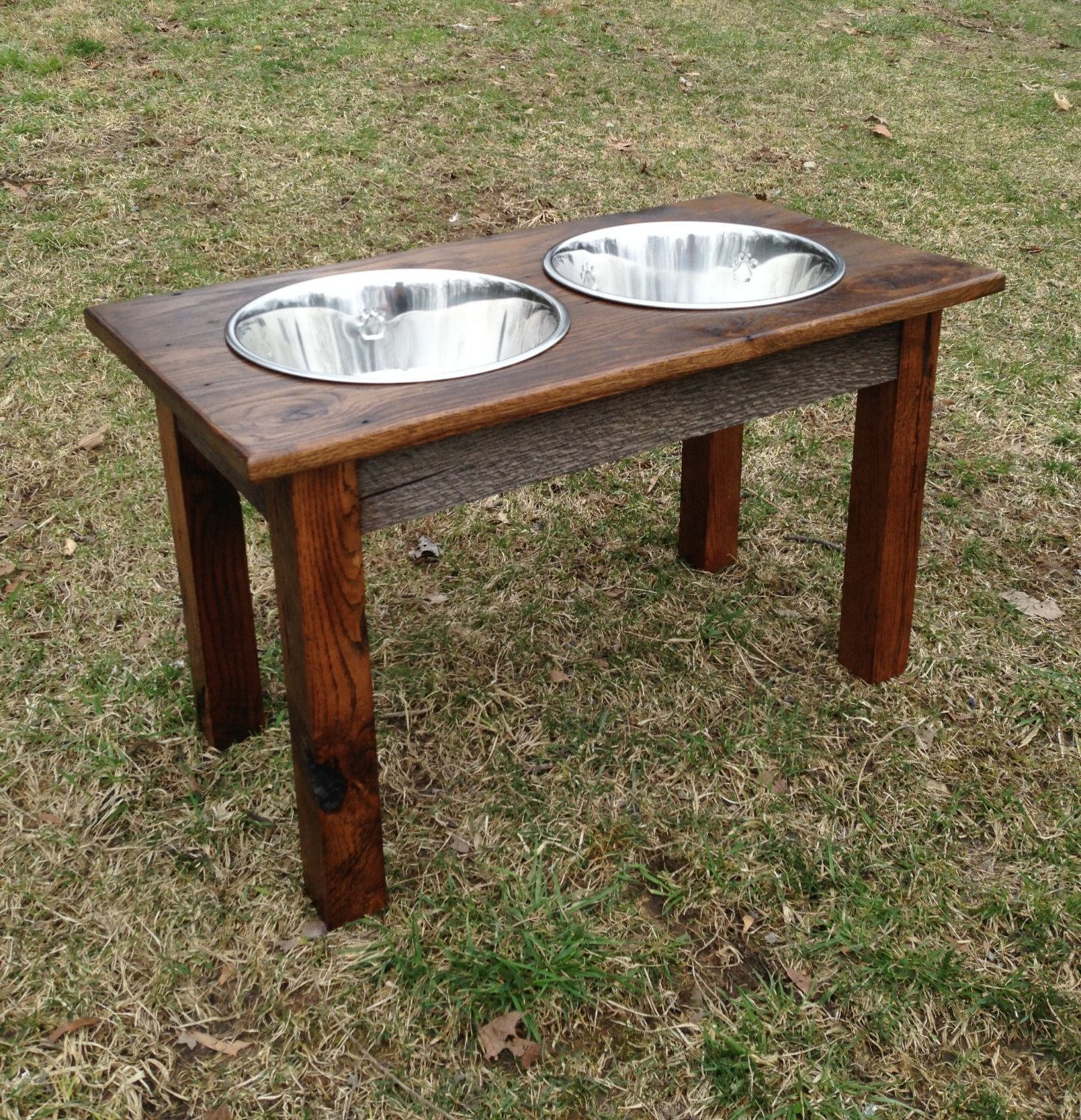 large wooden pet bowl stand reclaimed by. Black Bedroom Furniture Sets. Home Design Ideas