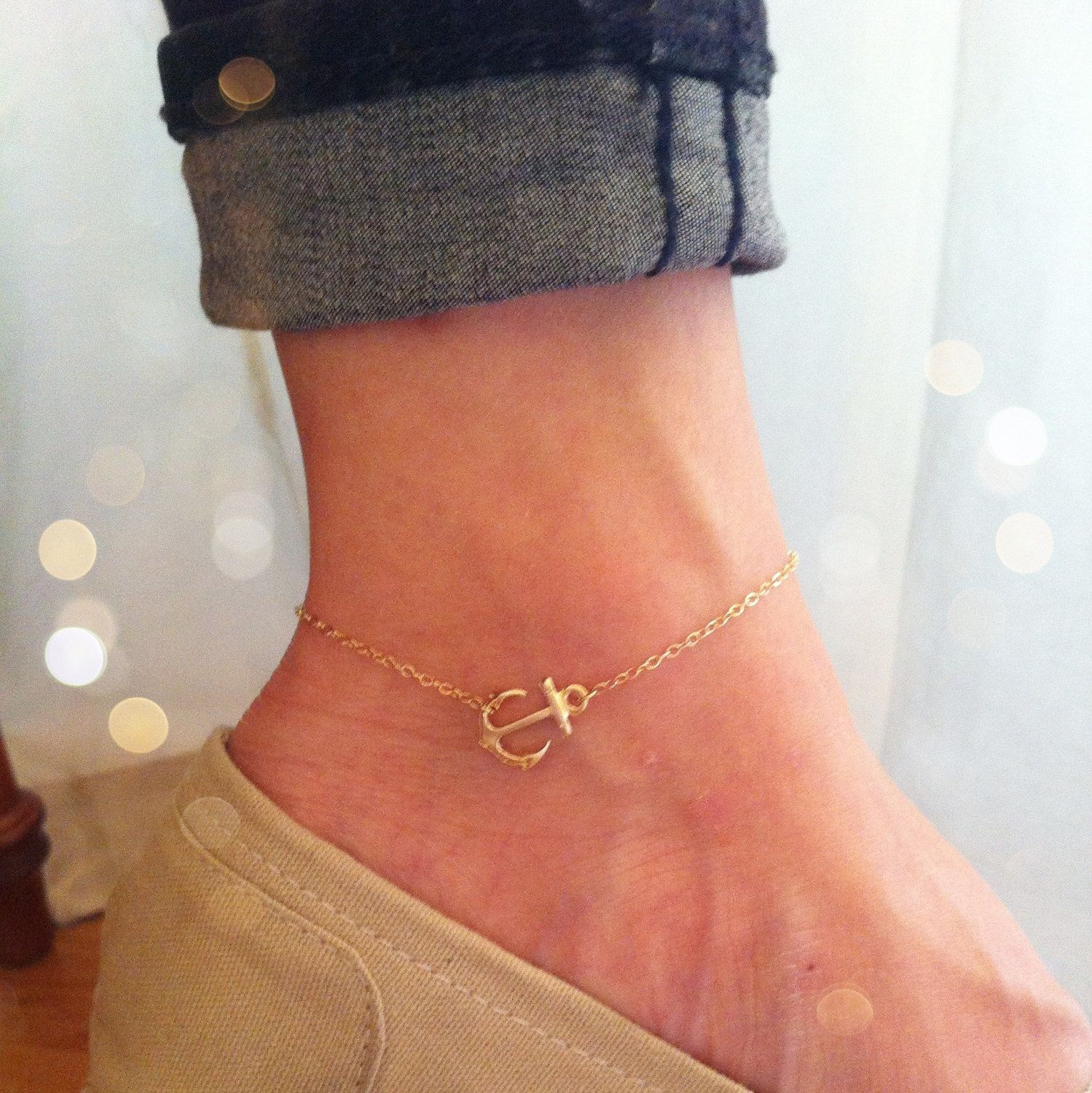 gold quartz gemstone anklet rose pin beach chain summer