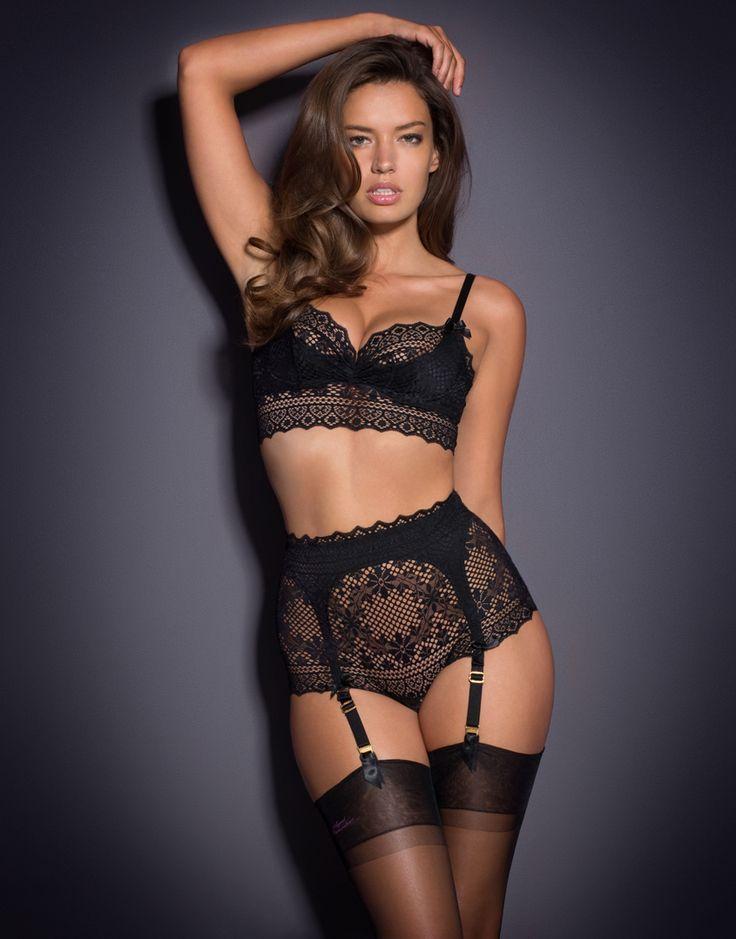 Black lingerie model