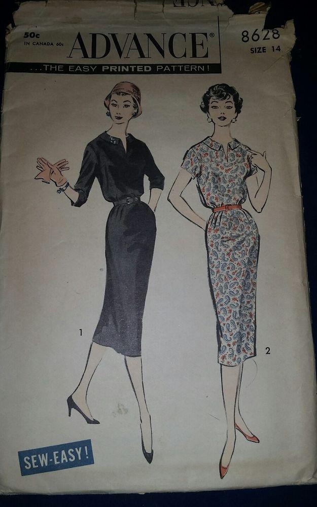 Advance 8628 Vintage Misses Dress Sewing Pattern Uncut Size 14 #Advance