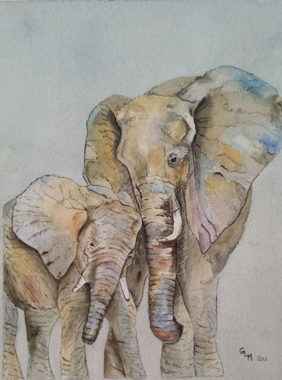 Elephants Aquarelle Avec Images Peinture D Elephant Art