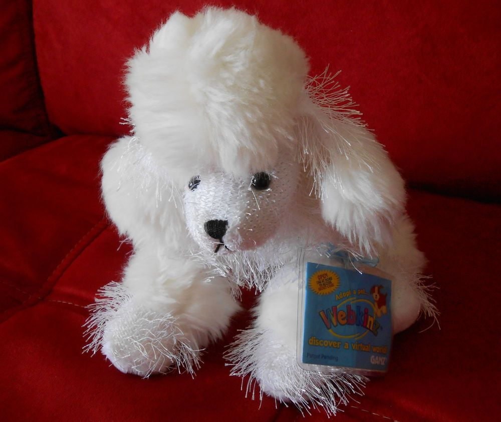 Ganz Webkinz Adopt A Pet White Poodle W Sealed Code Stuffed Dog