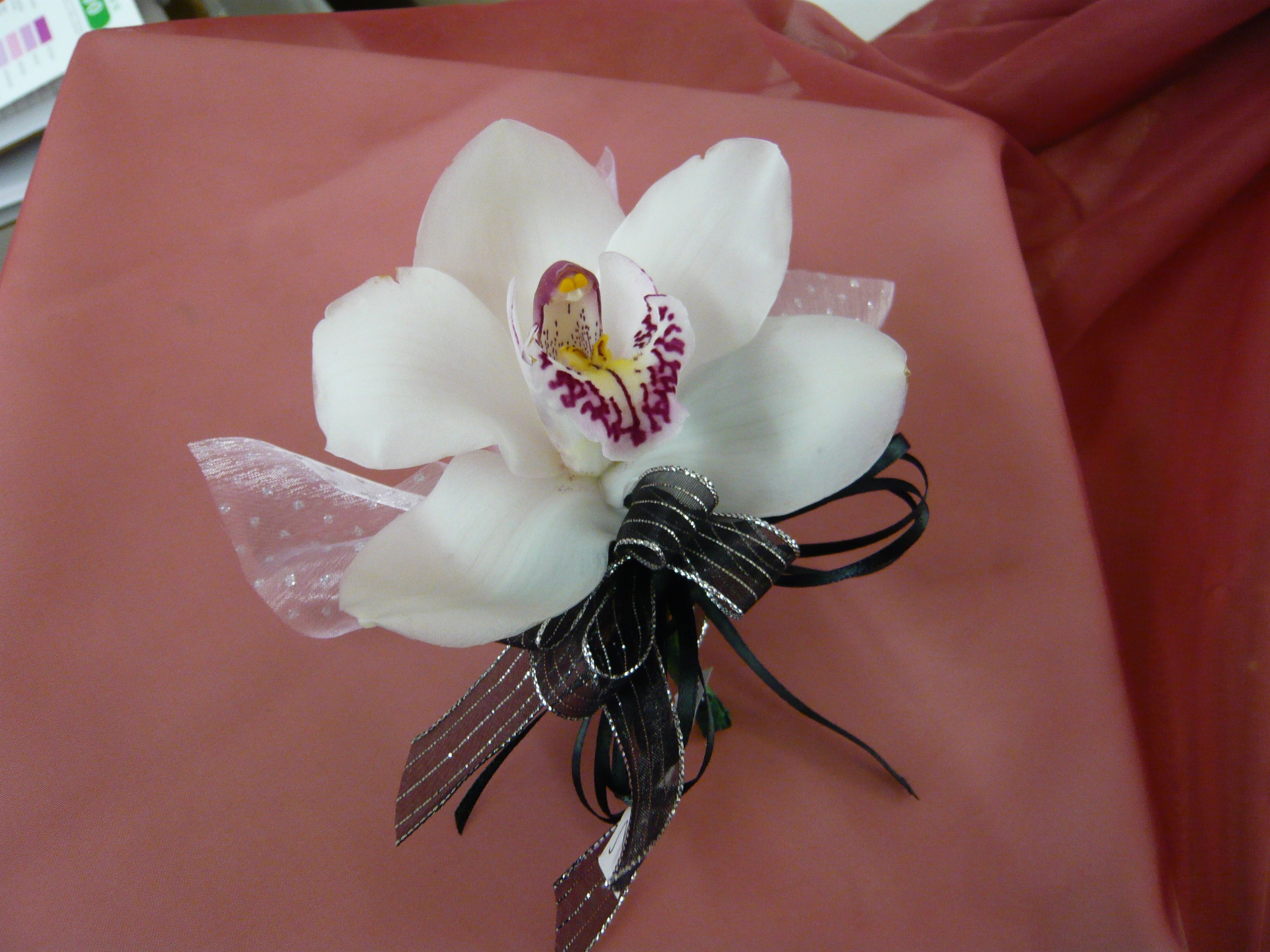 White Orchid Wrist Corsage with Black Ribbon | Wrist ...