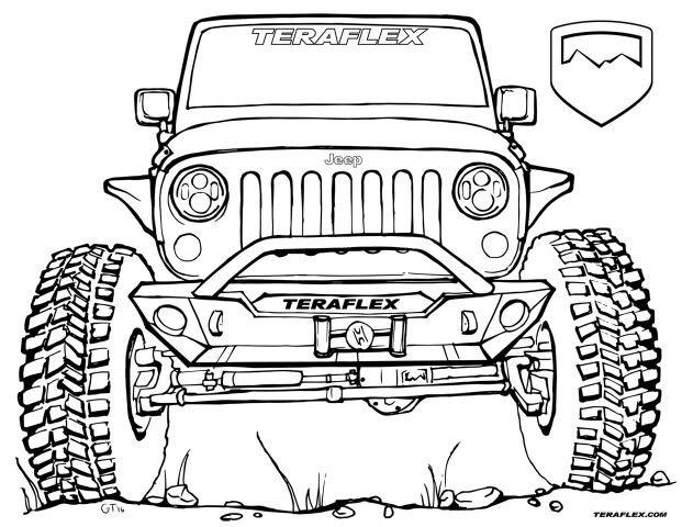 teraflex coloring page  jeep drawing jeep wrangler jk