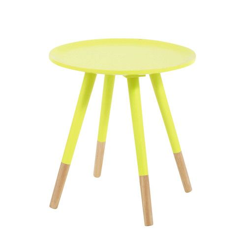 table basse vintage en bois jaune fluo l 40 cm | for the home