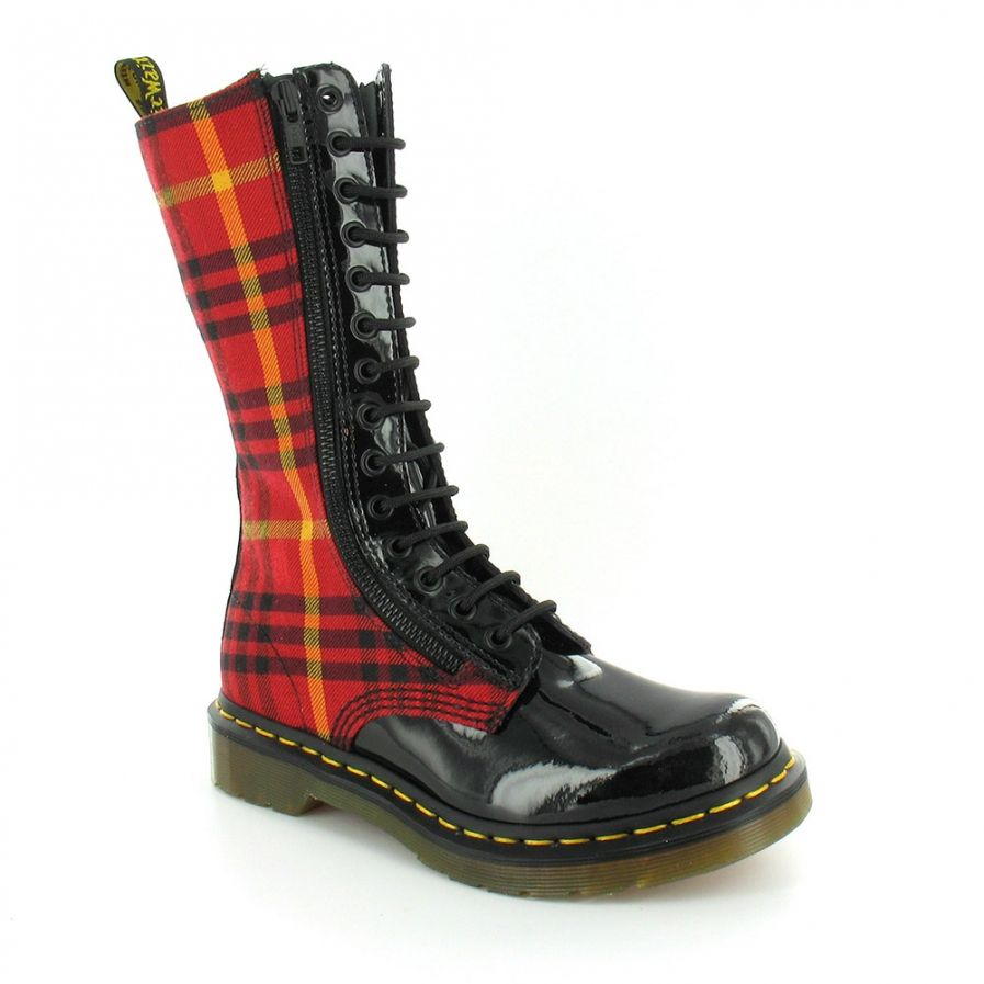 e6f38194c70 Lorna Womens McMarten Tartan Zipped Midcalf Boots - Black + Red | <3 ...