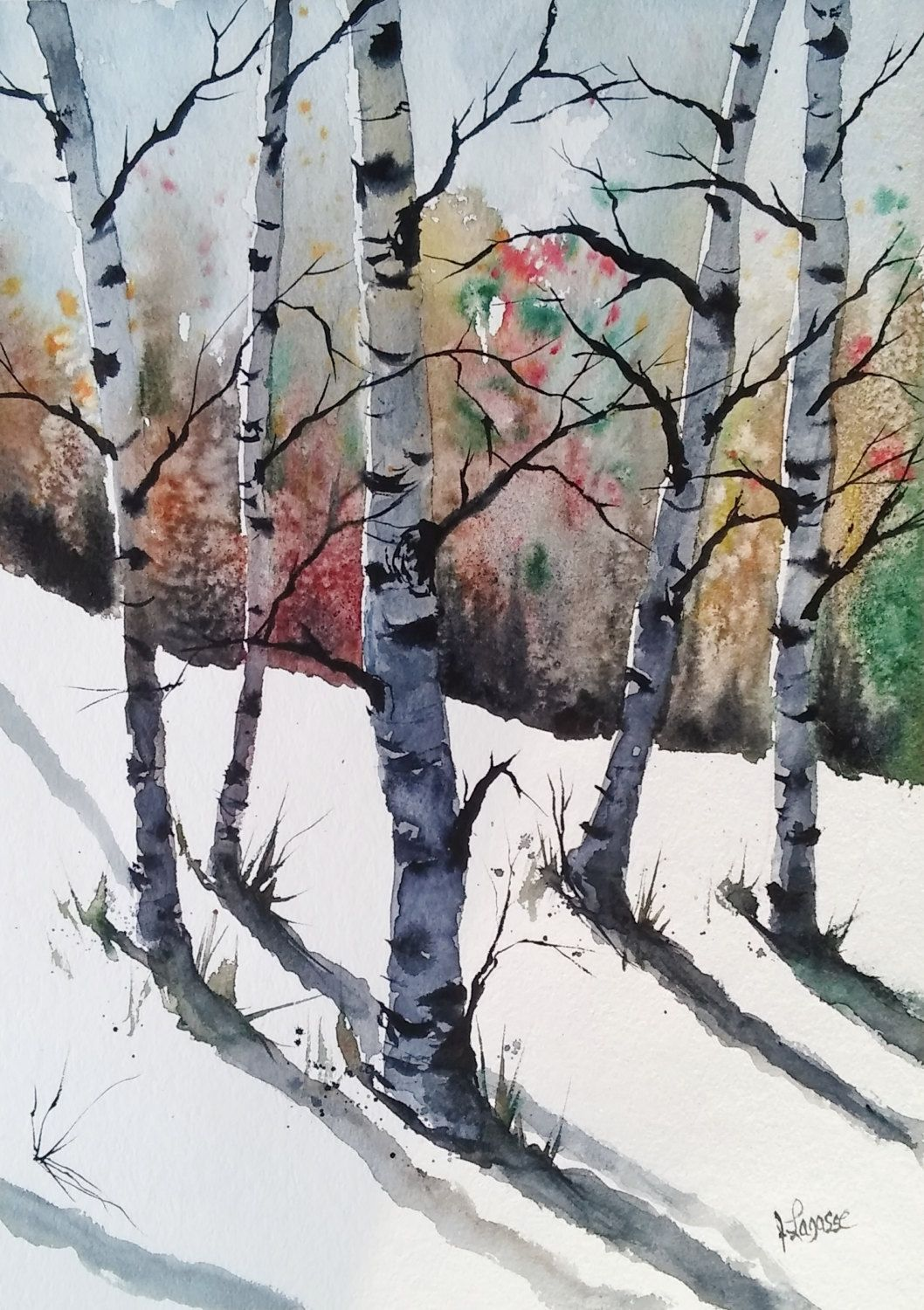 Original Colorful Print Birch Trees Landscape Original Watercolor
