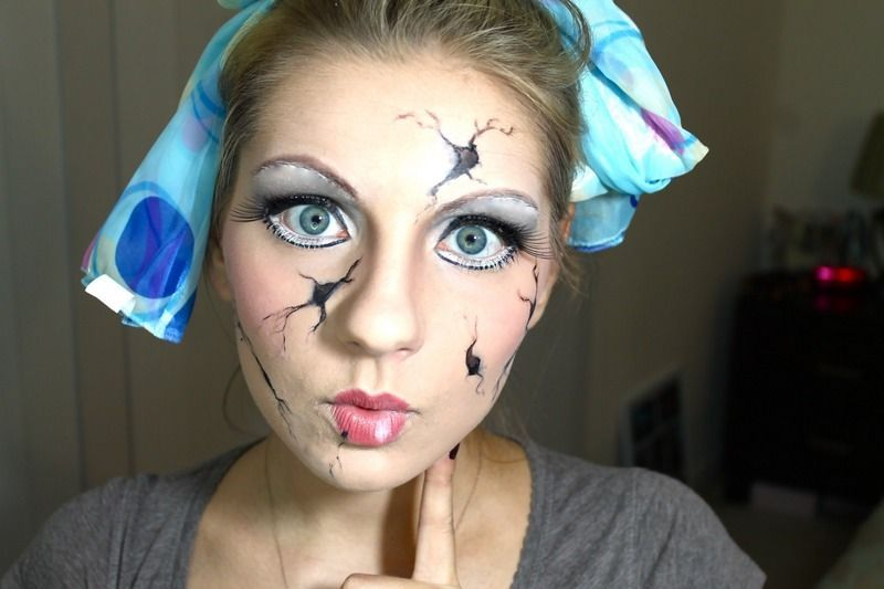 8 Cracked Doll Halloween Makeup Tutorials For A Cute  Creepy - cute makeup ideas for halloween
