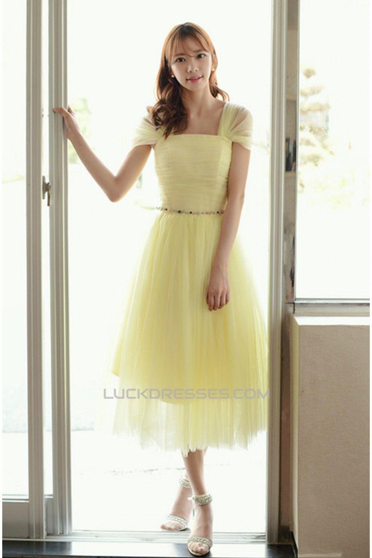 Short capsleeve tulle yellow bridesmaid dressesevening dresses