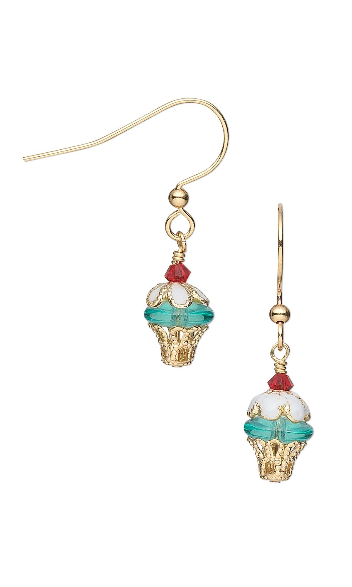 jewelry design cupcake earrings with czech pressed glass beads