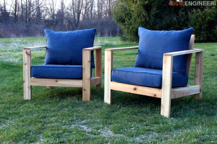 DIY Outdoor Lounge Chair Plans from Rogue Engineer -----  Cushions purchased at Home Depot - $150 each (cedar with cushion price included) or $100 (pressure treated lumber with cushions) **cushions about $70 each