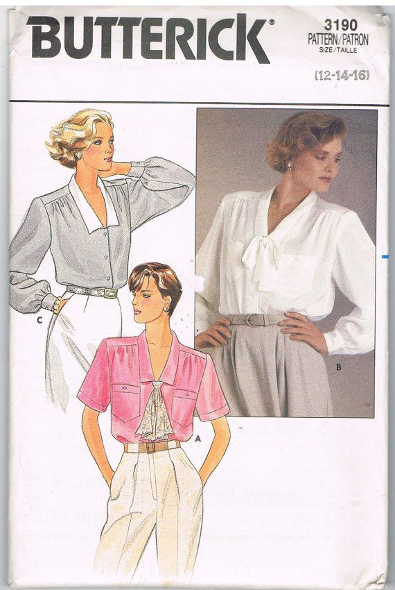 Classic style for a blouse, just select current colors and fabrics to update!  Butterick 3190 Blouses Pattern by CraftiqueRedux on Etsy, $7.00