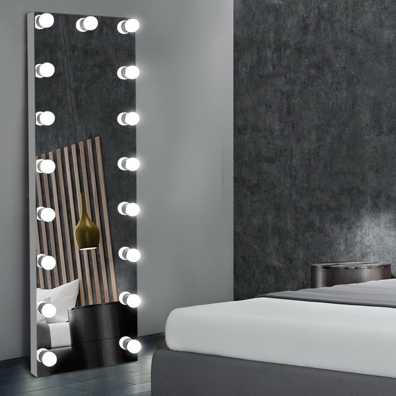 Full Length Mirror Floor Standing Makeup Wall Light Bulbs Mirror In 2020 Mirror Wall Bedroom Full Length Mirror With Lights Lighted Wall Mirror