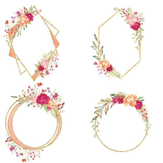 Geometric floral frames, rose gold frame clipart, gold ...