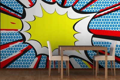 bang pop art mural wallpaper i want this on the wall behind where i sit