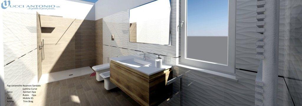 Bagno effetto legno progetto total look con sanitari e rubinetterie lavabo bidet e doccia - Bagno finto legno ...