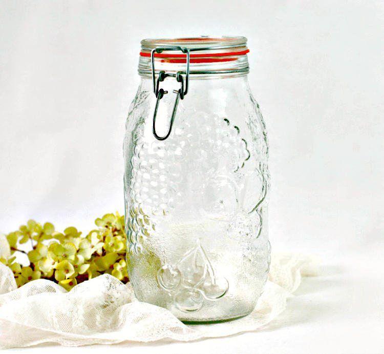 Vintage Large Wheaton Glass Jar Embossed Fruit Fine Glass Jars Jar Large Glass Jars