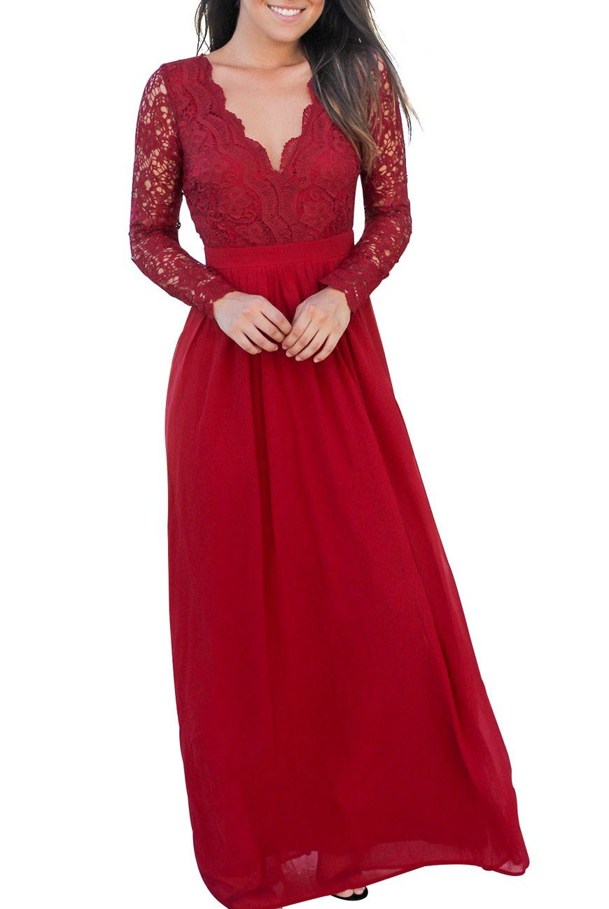 Red open back long sleeve crochet lace maxi party dress lace maxi