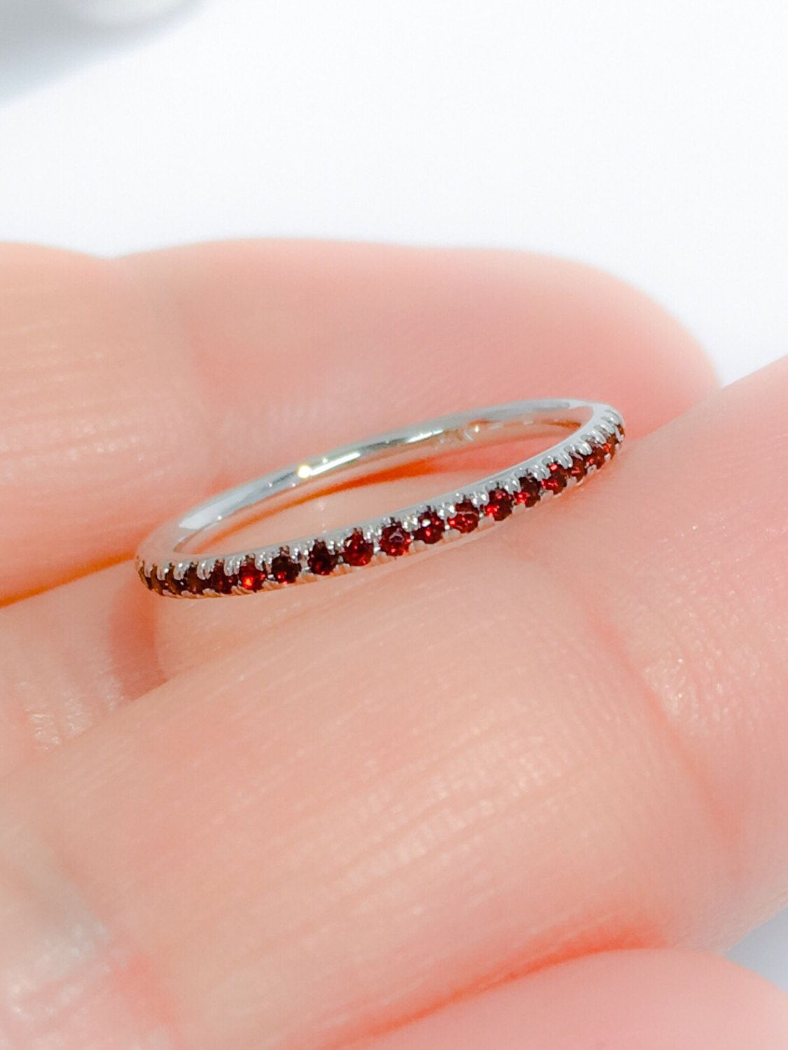 Etsy 14K Garnet Full Eternity Band 1.6mm Pave Garnet Matching ...