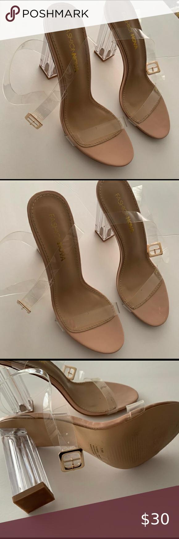 Fashion Nova Clear Glass Heels