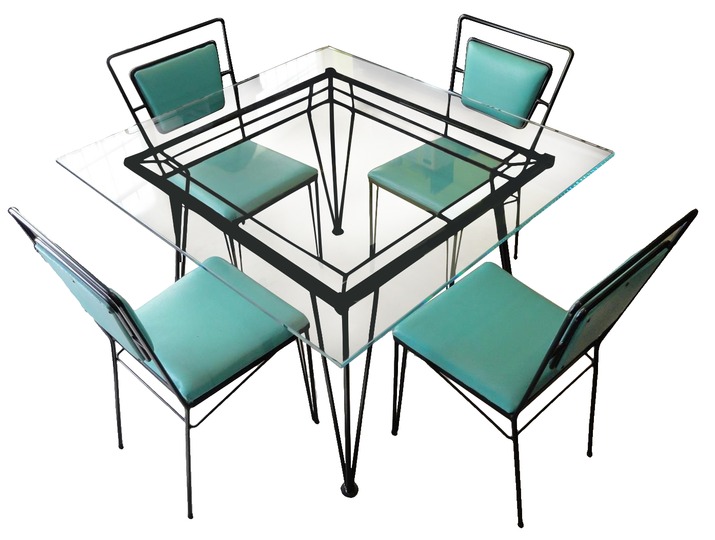 Atomic Age Mid-Century Iron Dining Set