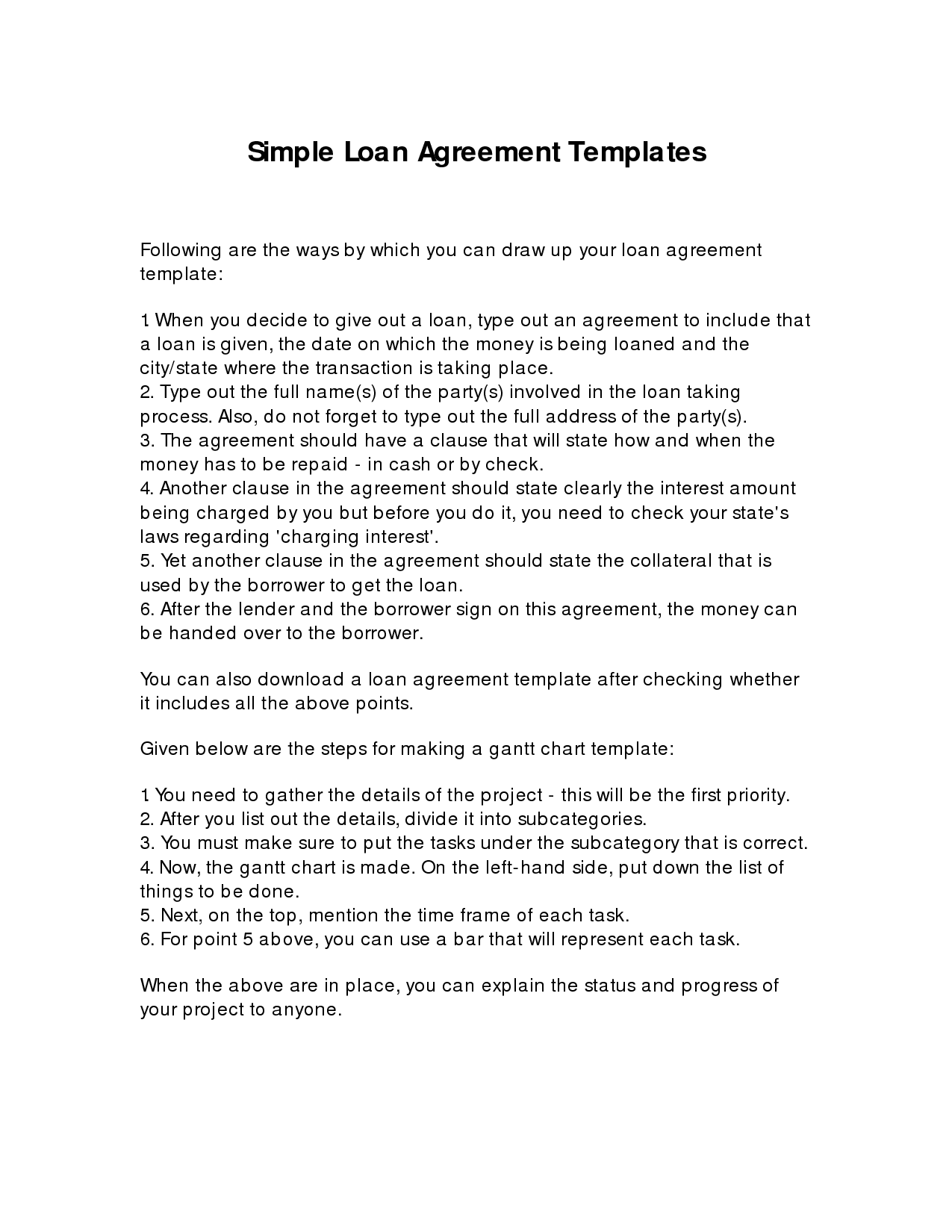 Copy Of Simple Loan Agreement Simple Loan Contract Legal - Simple legal documents