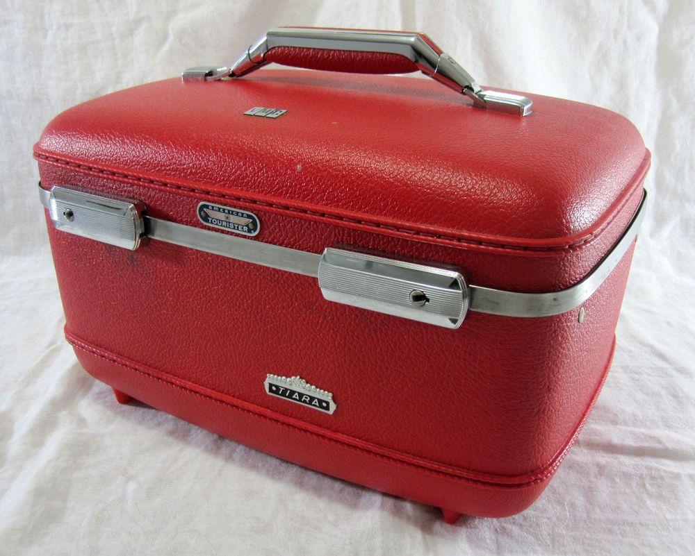 920aa75d43c9 Details about 1960's Vintage Red American Tourister Tiara Vanity ...