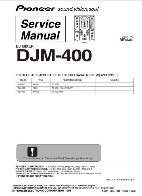 pioneer djm 400 mixer original service manual mixers linux and rh pinterest co uk DJM-600 Mixer Pioneer DJM- 500